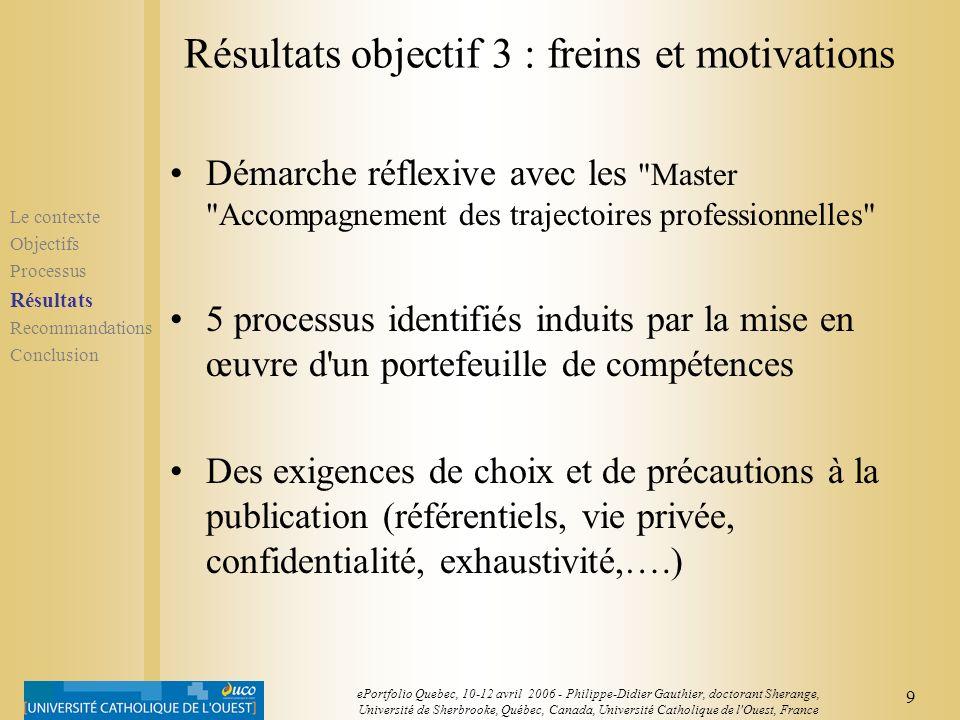 8 ePortfolio Quebec, 10-12 avril 2006 - Philippe-Didier Gauthier, doctorant Sherange, Université de Sherbrooke, Québec, Canada, Université Catholique