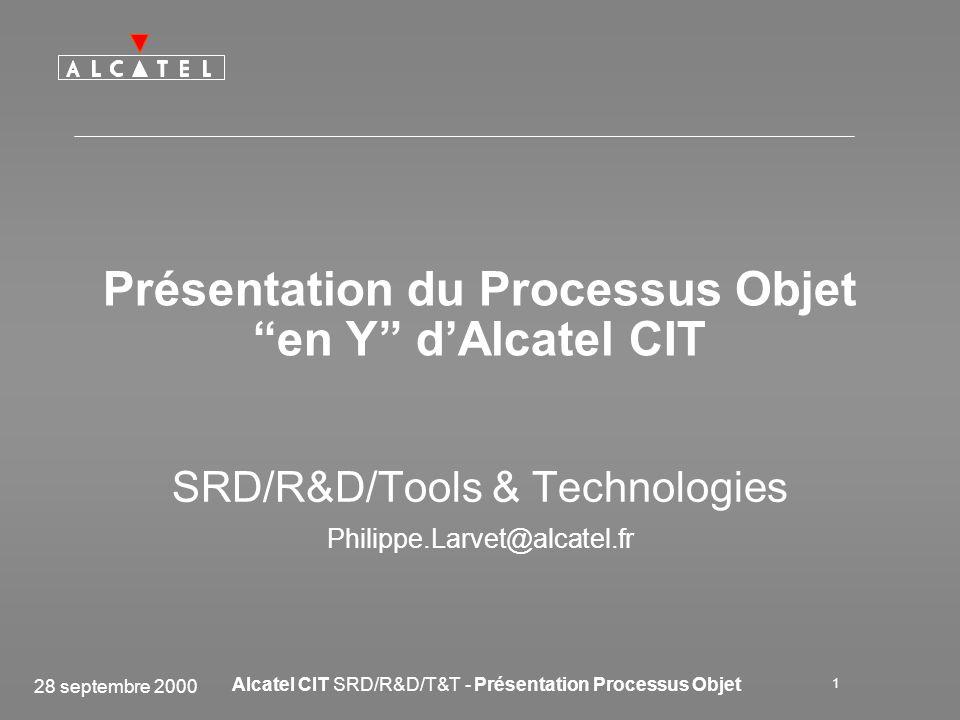 28 septembre 2000 Alcatel CIT SRD/R&D/T&T - Présentation Processus Objet 2 Introduction de l OO à Alcatel CIT Fin 97 Déroulement des premiers Projets Pionniers Dossier de retour d expé- rience Contrat de Projet Pionnier 1998Fin 981999...