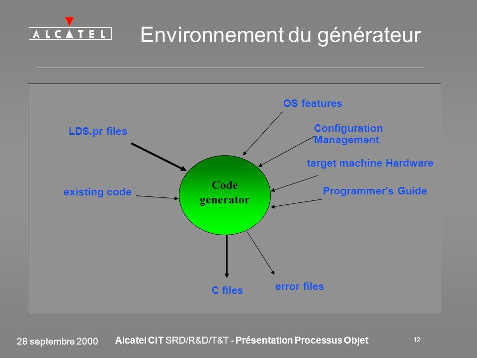 28 septembre 2000 Alcatel CIT SRD/R&D/T&T - Présentation Processus Objet 12 Environnement du générateur target machine Hardware Programmer's Guide exi
