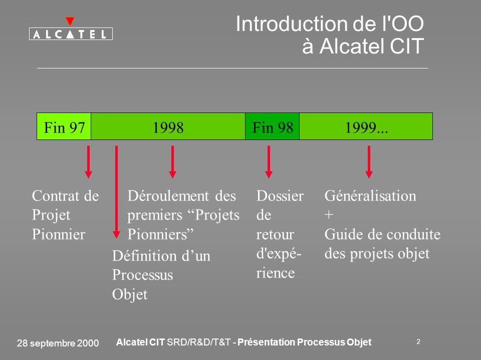 28 septembre 2000 Alcatel CIT SRD/R&D/T&T - Présentation Processus Objet 3 Conduite des Projets OO Tous nos projets sont sous Assurance Qualité Le Système Qualité Direction Technique est la référence en méthode de conduite de projets Tous les documents utilisés pour un projet Objet y sont référencés : –Procédure de Gestion de projet –Guide de conduite de projet Objet –Procédure des phases du cycle de développement Objet (description détaillée du Processus Objet) –Guide de modélisation UML –Procédure de gestion de la Base de Composants