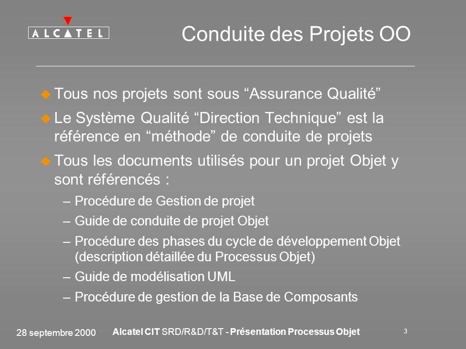 28 septembre 2000 Alcatel CIT SRD/R&D/T&T - Présentation Processus Objet 3 Conduite des Projets OO Tous nos projets sont sous Assurance Qualité Le Sys