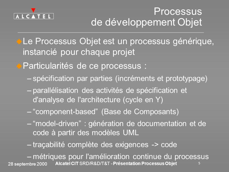 28 septembre 2000 Alcatel CIT SRD/R&D/T&T - Présentation Processus Objet 16 Formation et déploiement dUML Formations préliminaires à UML dans Tools & Technologies (managers, décideurs, chefs de projet) Formation des équipes SYSTEME (analyse UML) Formation des développeurs just in time, selon les besoins des projets (analyse, conception, développement) Contrat de Projet signé entre le Projet et T&T pour assurer –la réussite du projet (tuteurs + experts) –le transfert de savoir-faire Application de la règle du 1/3 Lessaimage UML se fait naturellement, au fil des projets