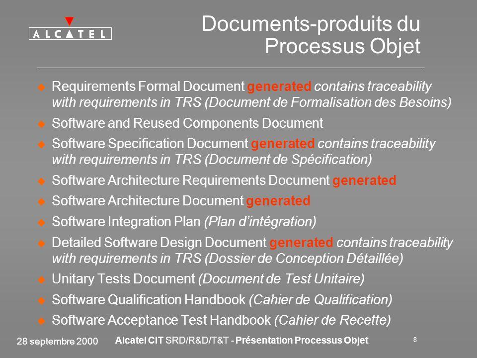 28 septembre 2000 Alcatel CIT SRD/R&D/T&T - Présentation Processus Objet 8 Documents-produits du Processus Objet Requirements Formal Document generate