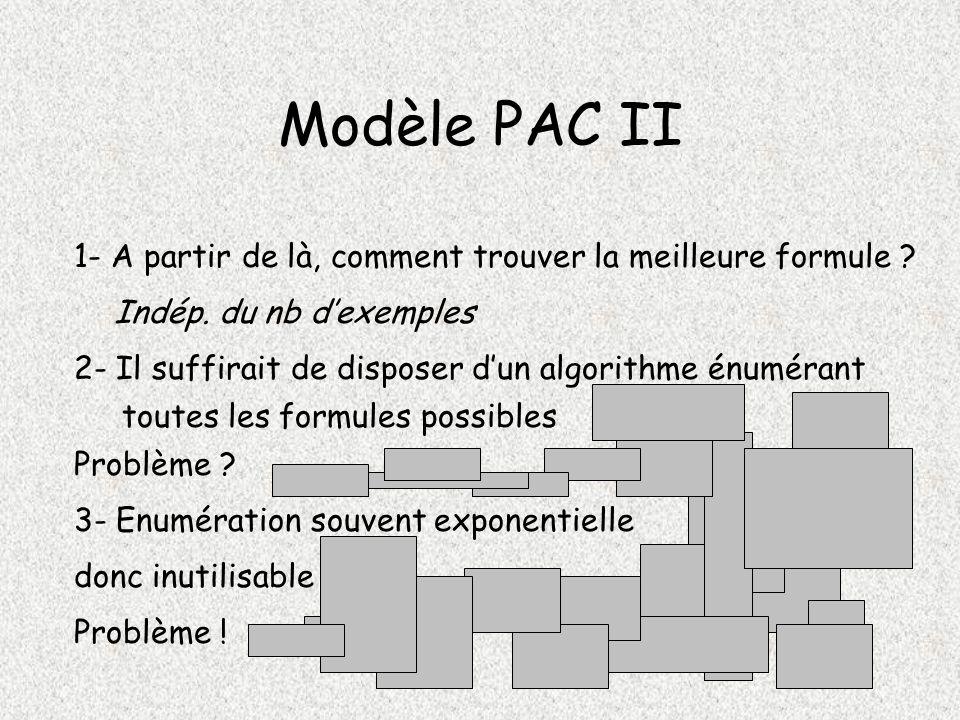 Modèle PAC II 1- A partir de là, comment trouver la meilleure formule .
