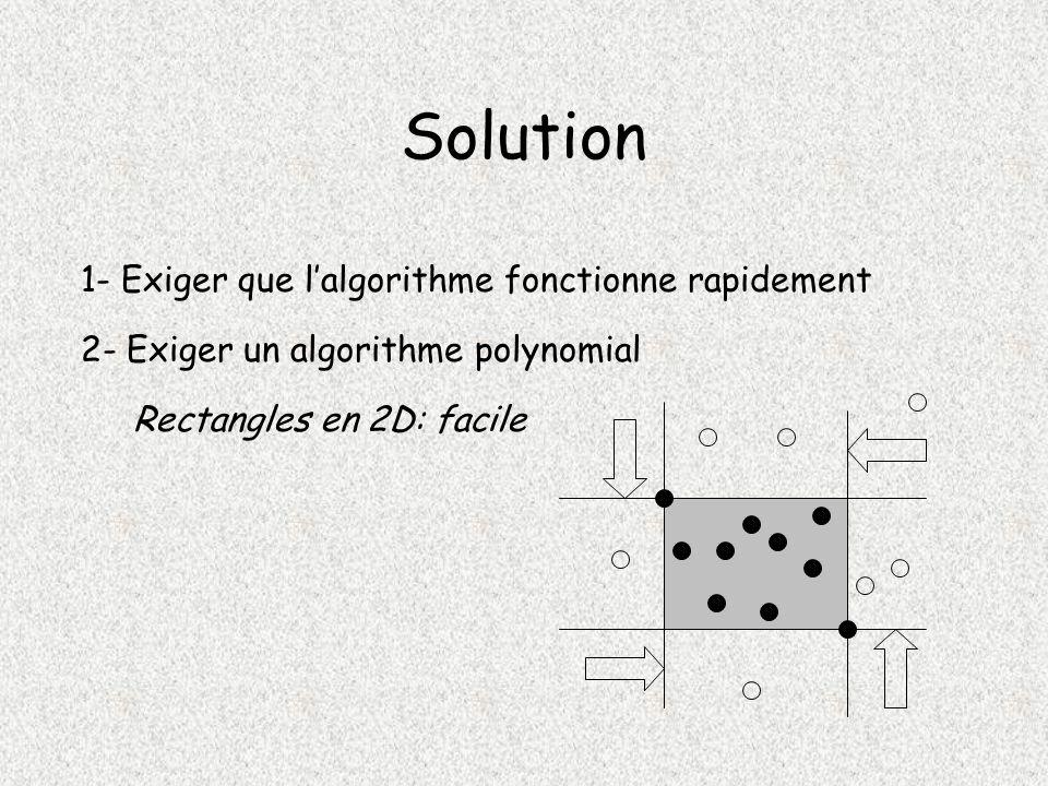 Solution 1- Exiger que lalgorithme fonctionne rapidement 2- Exiger un algorithme polynomial Rectangles en 2D: facile