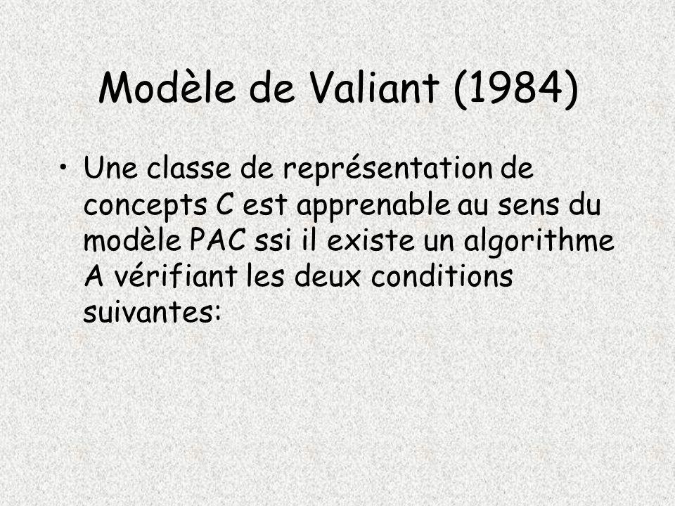 Modèle de Valiant (1984) Une classe de représentation de concepts C est apprenable au sens du modèle PAC ssi il existe un algorithme A vérifiant les deux conditions suivantes: