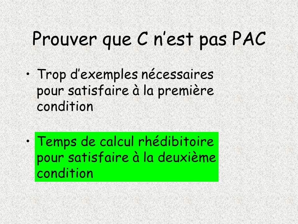 Prouver que C nest pas PAC Trop dexemples nécessaires pour satisfaire à la première condition Temps de calcul rhédibitoire pour satisfaire à la deuxième condition