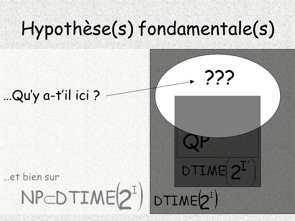 Hypothèse(s) fondamentale(s) NP P QP …et bien sur ??? …Quy a-til ici ?