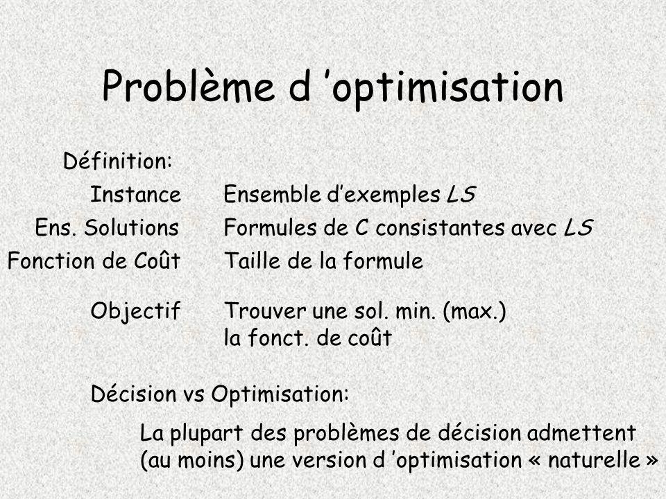Problème d optimisation Définition: Instance Ens.