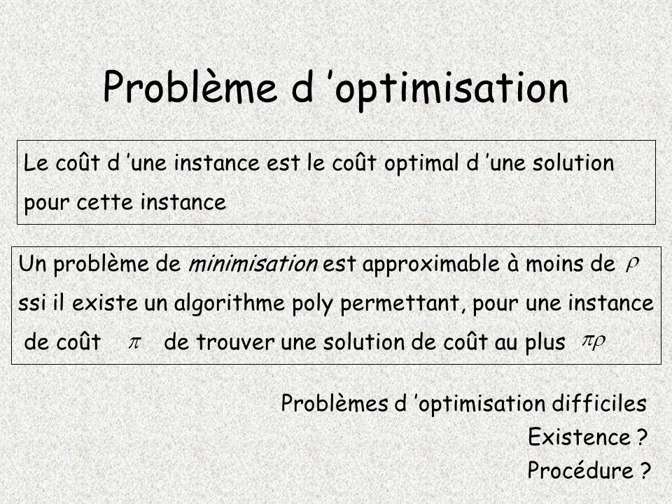 Problème d optimisation Problèmes d optimisation difficiles Existence .