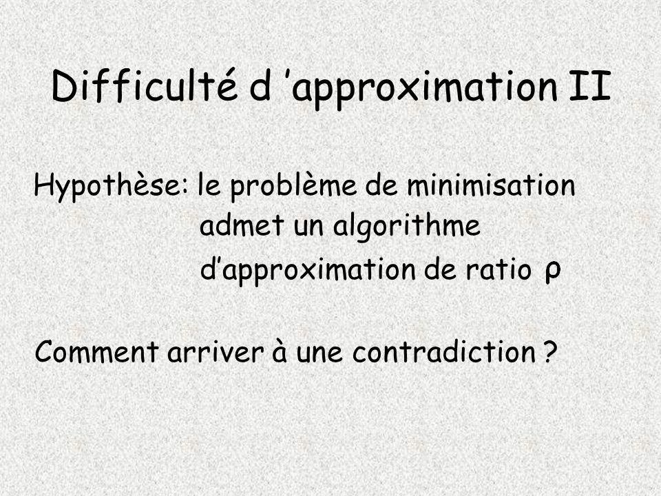 Difficulté d approximation II Hypothèse: le problème de minimisation dapproximation de ratio admet un algorithme Comment arriver à une contradiction ?