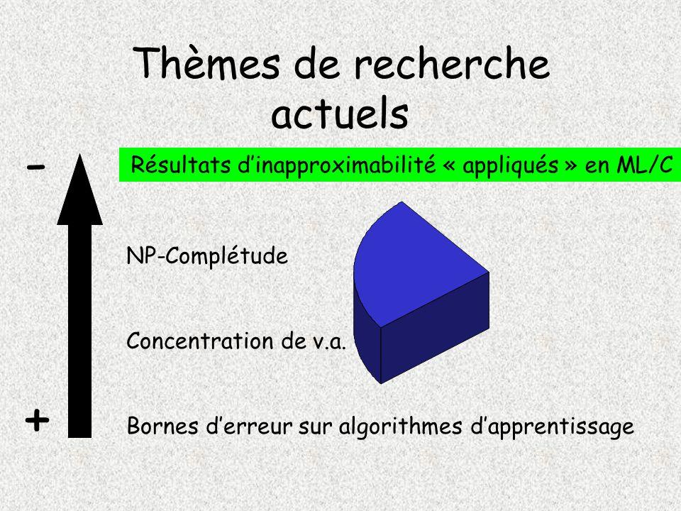 Thèmes de recherche actuels NP-Complétude Résultats dinapproximabilité « appliqués » en ML/C Concentration de v.a.