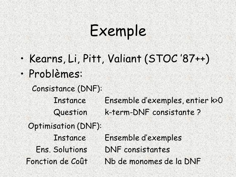 Exemple Kearns, Li, Pitt, Valiant (STOC 87++) Problèmes: Consistance (DNF): Instance Question Ensemble dexemples, entier k>0 k-term-DNF consistante .
