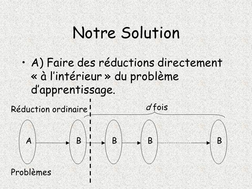 Notre Solution A) Faire des réductions directement « à lintérieur » du problème dapprentissage.