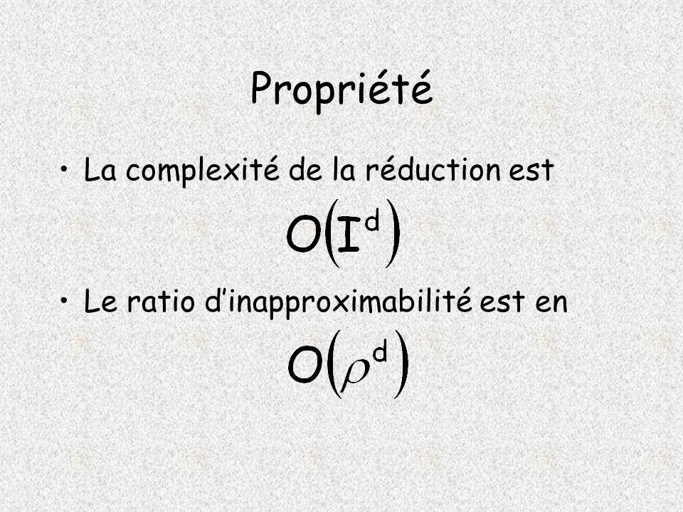 Propriété La complexité de la réduction est Le ratio dinapproximabilité est en