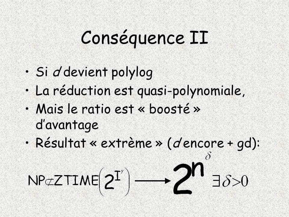 Conséquence II Si d devient polylog La réduction est quasi-polynomiale, Mais le ratio est « boosté » davantage Résultat « extrème » (d encore + gd):