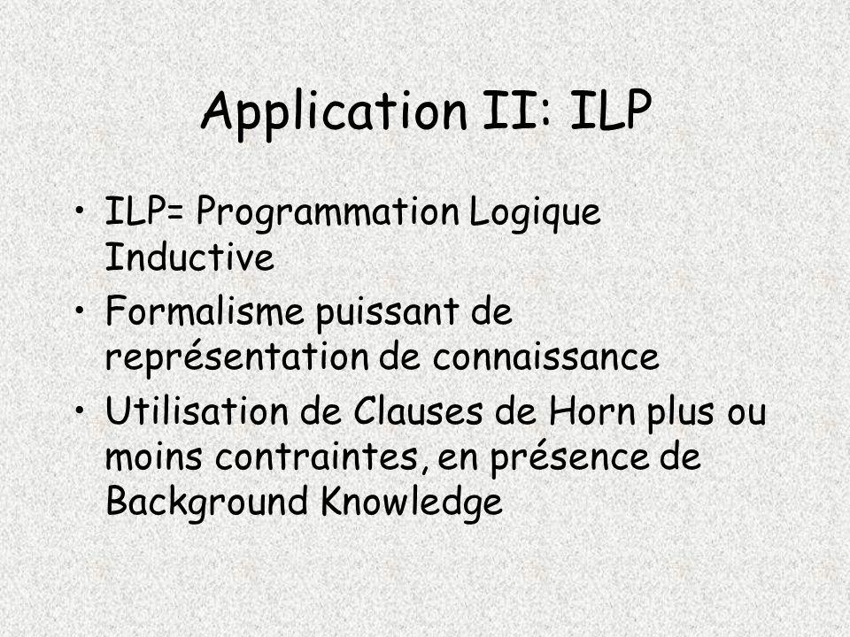 Application II: ILP ILP= Programmation Logique Inductive Formalisme puissant de représentation de connaissance Utilisation de Clauses de Horn plus ou moins contraintes, en présence de Background Knowledge