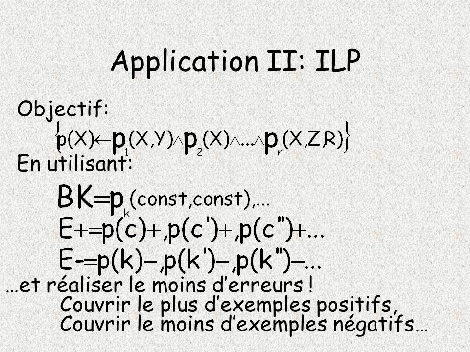 Application II: ILP Objectif: …et réaliser le moins derreurs .