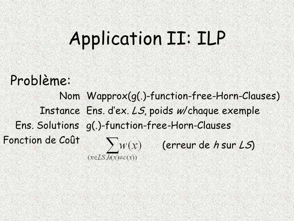 Application II: ILP Problème: Instance Ens.Solutions Fonction de Coût Ens.