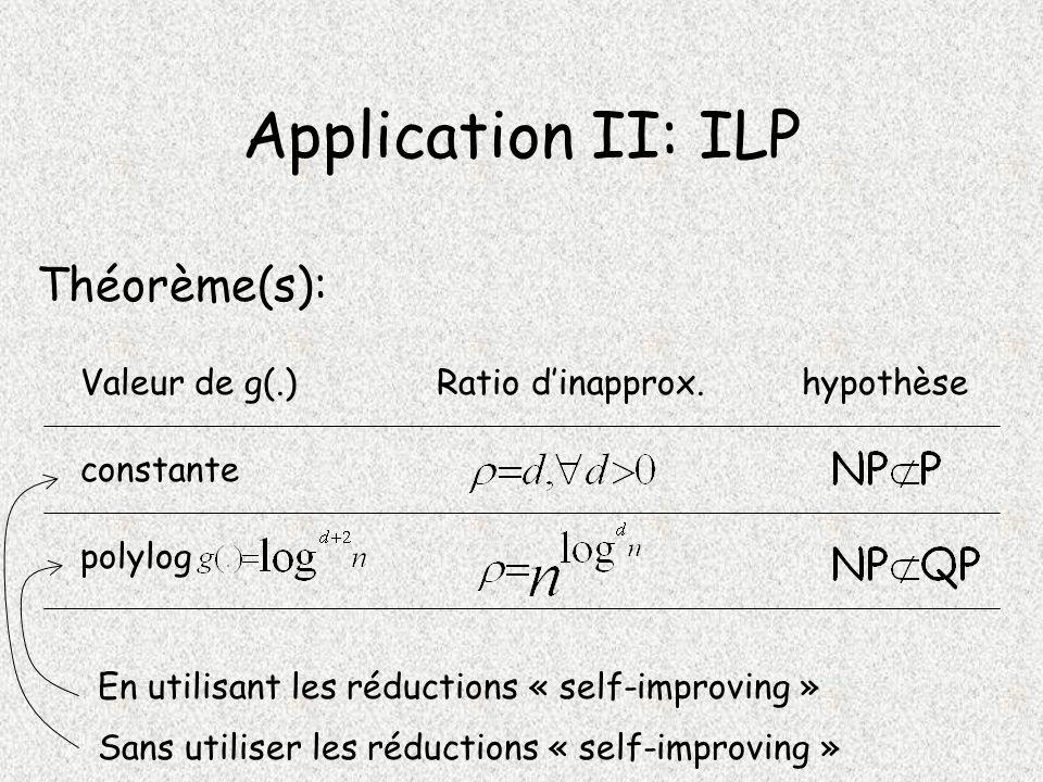 Application II: ILP Théorème(s): constante Valeur de g(.)Ratio dinapprox.hypothèse polylog Sans utiliser les réductions « self-improving » En utilisant les réductions « self-improving »