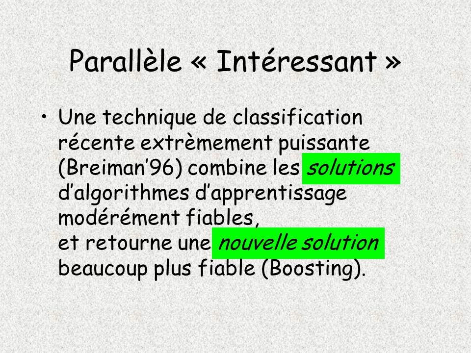 Parallèle « Intéressant » Une technique de classification récente extrèmement puissante (Breiman96) combine les solutions dalgorithmes dapprentissage modérément fiables, et retourne une nouvelle solution beaucoup plus fiable (Boosting).