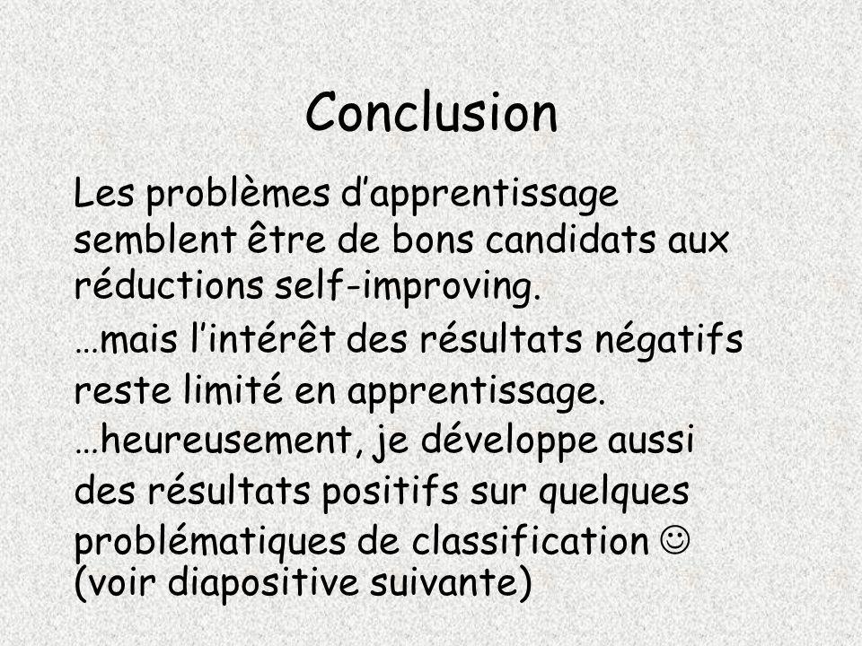 Conclusion Les problèmes dapprentissage semblent être de bons candidats aux réductions self-improving.