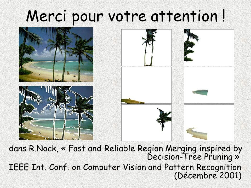 Merci pour votre attention ! dans R.Nock, « Fast and Reliable Region Merging inspired by Decision-Tree Pruning » IEEE Int. Conf. on Computer Vision an