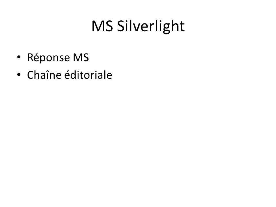 MS Silverlight Réponse MS Chaîne éditoriale