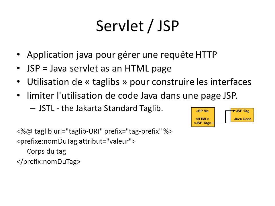 Servlet / JSP Application java pour gérer une requête HTTP JSP = Java servlet as an HTML page Utilisation de « taglibs » pour construire les interfaces limiter l utilisation de code Java dans une page JSP.