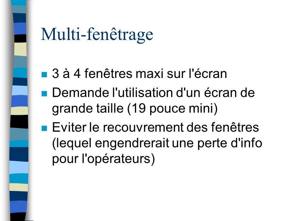 Multi-fenêtrage n 3 à 4 fenêtres maxi sur l écran n Demande l utilisation d un écran de grande taille (19 pouce mini) n Eviter le recouvrement des fenêtres (lequel engendrerait une perte d info pour l opérateurs)