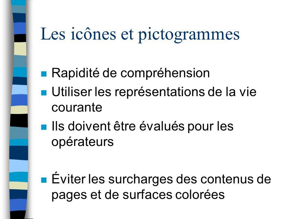 Les icônes et pictogrammes n Rapidité de compréhension n Utiliser les représentations de la vie courante n Ils doivent être évalués pour les opérateurs n Éviter les surcharges des contenus de pages et de surfaces colorées