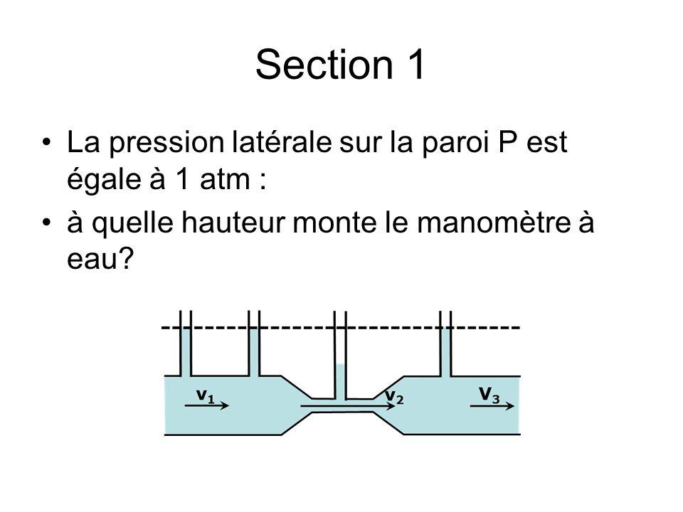 Section 1 La pression latérale sur la paroi P est égale à 1 atm : à quelle hauteur monte le manomètre à eau?