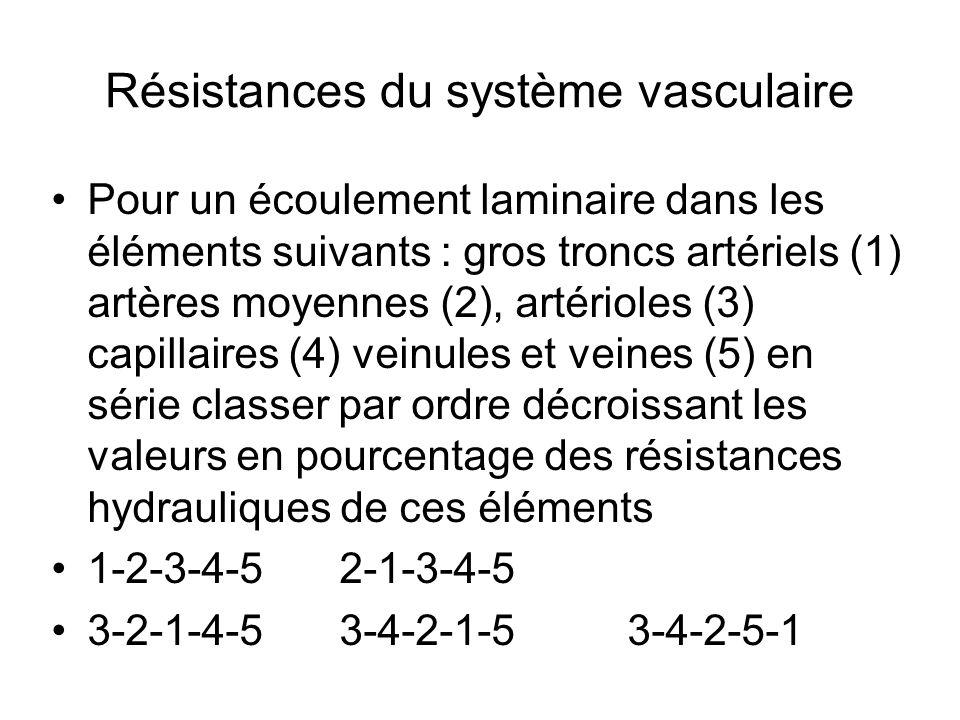 Résistances du système vasculaire Pour un écoulement laminaire dans les éléments suivants : gros troncs artériels (1) artères moyennes (2), artérioles