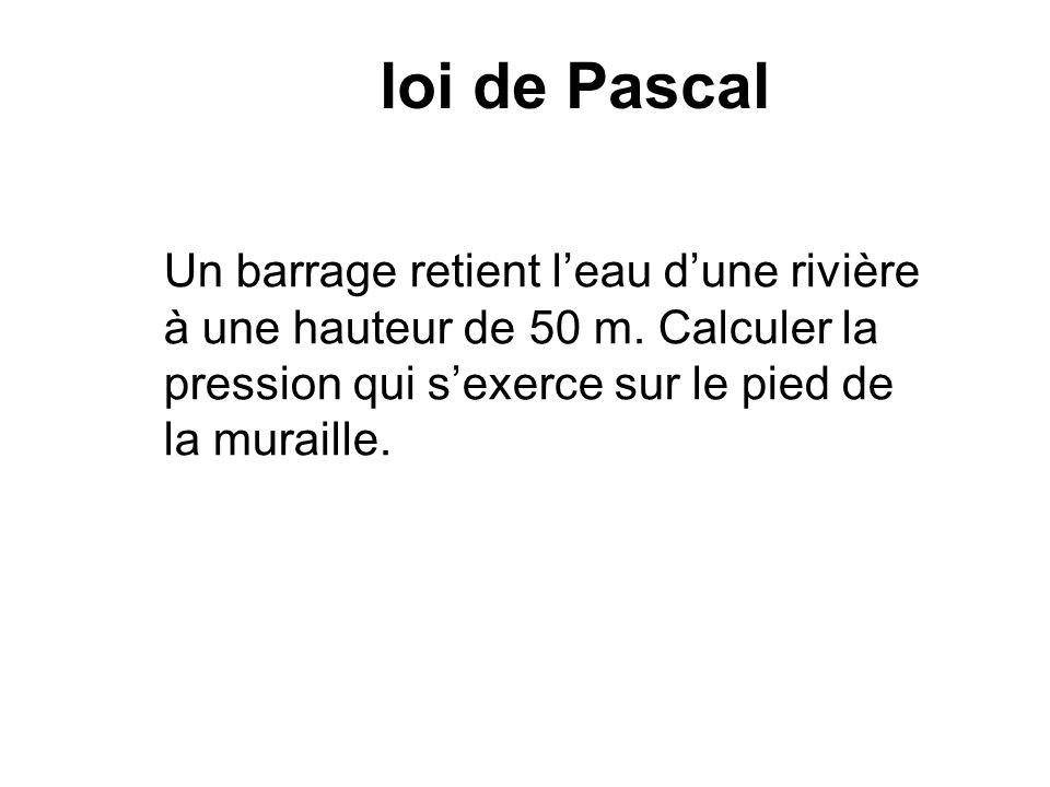 loi de Pascal Un barrage retient leau dune rivière à une hauteur de 50 m. Calculer la pression qui sexerce sur le pied de la muraille.