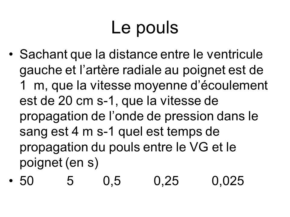 Le pouls Sachant que la distance entre le ventricule gauche et lartère radiale au poignet est de 1 m, que la vitesse moyenne découlement est de 20 cm