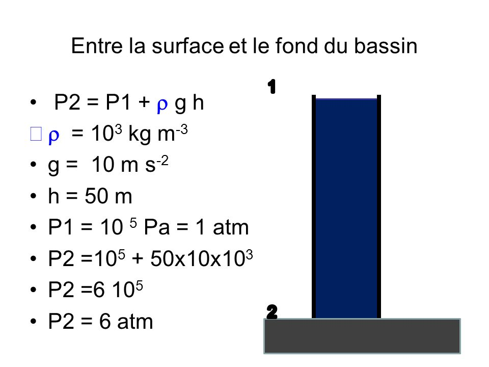 Entre la surface et le fond du bassin P2 = P1 + g h = 10 3 kg m -3 g = 10 m s -2 h = 50 m P1 = 10 5 Pa = 1 atm P2 =10 5 + 50x10x10 3 P2 =6 10 5 P2 = 6