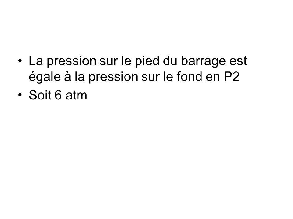 La pression sur le pied du barrage est égale à la pression sur le fond en P2 Soit 6 atm