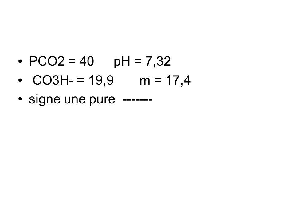 PCO2 = 40 pH = 7,32 CO3H- = 19,9 m = 17,4 signe une pure -------