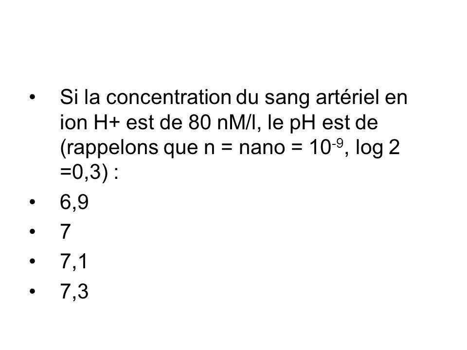 Si la concentration du sang artériel en ion H+ est de 80 nM/l, le pH est de (rappelons que n = nano = 10 -9, log 2 =0,3) : 6,9 7 7,1 7,3