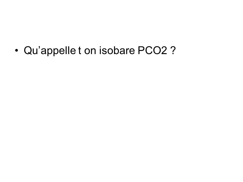 Quappelle t on isobare PCO2 ?