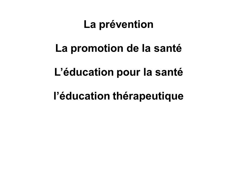 La prévention La promotion de la santé Léducation pour la santé léducation thérapeutique