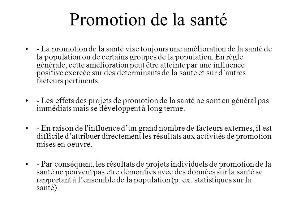 Promotion de la santé - La promotion de la santé vise toujours une amélioration de la santé de la population ou de certains groupes de la population.