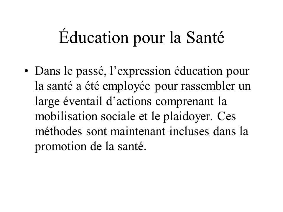 Éducation pour la Santé Dans le passé, lexpression éducation pour la santé a été employée pour rassembler un large éventail dactions comprenant la mobilisation sociale et le plaidoyer.