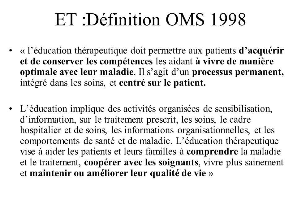 ET :Définition OMS 1998 « léducation thérapeutique doit permettre aux patients dacquérir et de conserver les compétences les aidant à vivre de manière optimale avec leur maladie.
