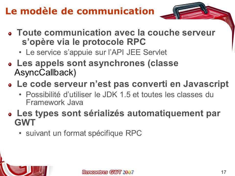 17 Le modèle de communication Toute communication avec la couche serveur sopère via le protocole RPC Le service sappuie sur lAPI JEE Servlet Les appel