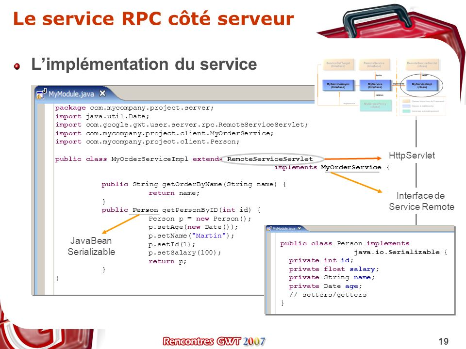 19 Le service RPC côté serveur Limplémentation du service package com.mycompany.project.server; import java.util.Date; import com.google.gwt.user.serv
