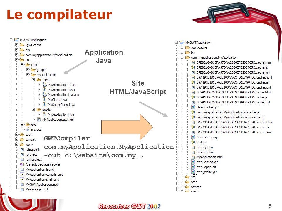 6 Les phases de compilation Chargement du module (méta-données, règles) Préparation des règles de permutation Pour chaque permutation, compilation Java vers JavaScript Génération des fichiers