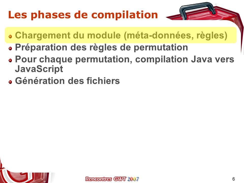 6 Les phases de compilation Chargement du module (méta-données, règles) Préparation des règles de permutation Pour chaque permutation, compilation Jav