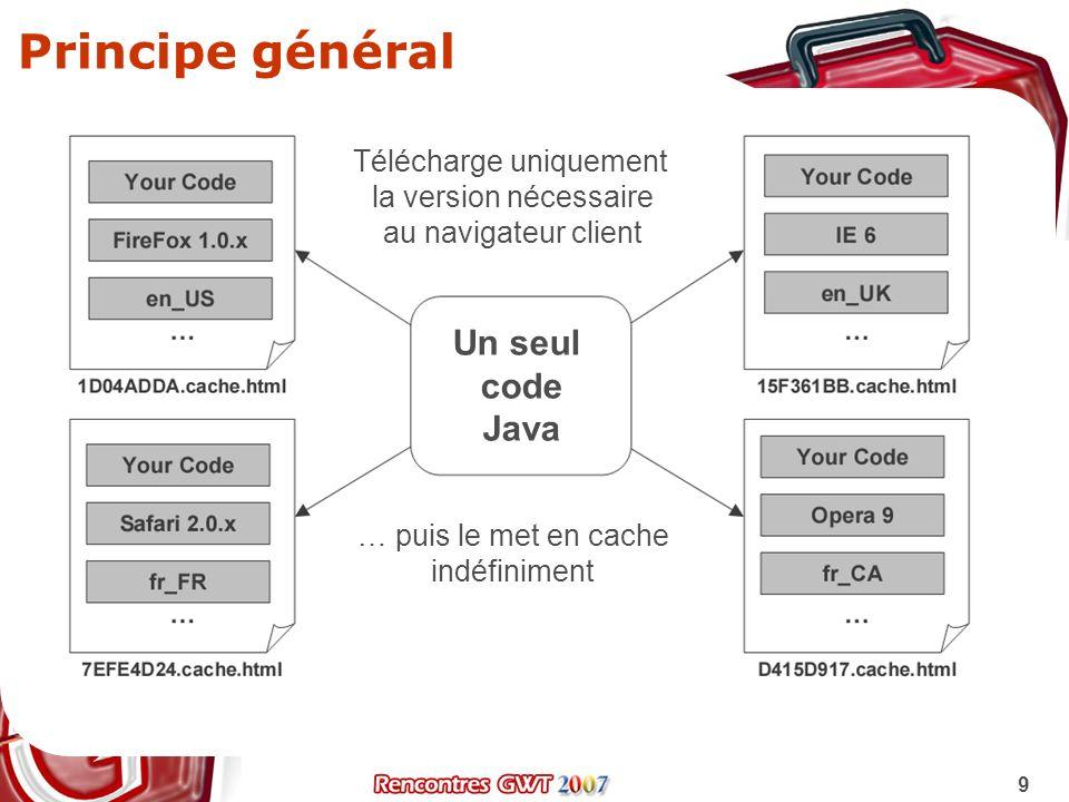 20 Le service RPC côté client Définir linterface de service package com.mycompany.project.client; import com.google.gwt.user.client.rpc.RemoteService; public interface MyOrderService extends RemoteService { public String getOrderByName(String name); public Person getPersonByID(int id); } Linterface asynchrone cliente est générée par les outils MyOrderServiceAsync orderService = (MyOrderServiceAsync) GWT.create(MyOrderService.class); // Converti le proxy en ServiceDefTarget pour lui assigner l URL ServiceDefTarget endpoint = (ServiceDefTarget) orderService; String moduleRelativeURL = GWT.getModuleBaseURL() + MyOrderService ; endpoint.setServiceEntryPoint(moduleRelativeURL); Instancie le bon service et récupère un proxy Asynchrone