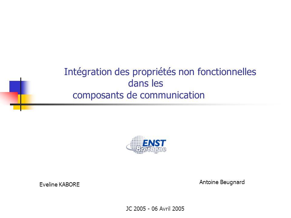 JC 2005 - 06 Avril 2005 Intégration des propriétés non fonctionnelles dans les composants de communication Eveline KABORE Antoine Beugnard